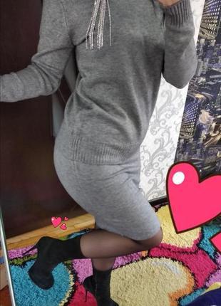 Костюм свитер с камнями и юбка