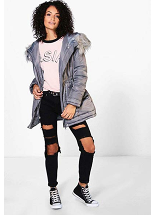 Легкая утепленная куртка с меховым капюшоном и карманами boohoo синтепон