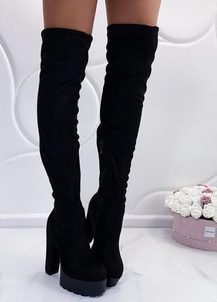 Новые шикарные женские осенние черные сапоги ботфорты на высоком каблуке