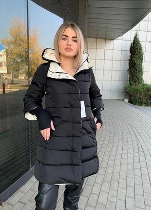 Удлиненная куртка с вязанным манжетом