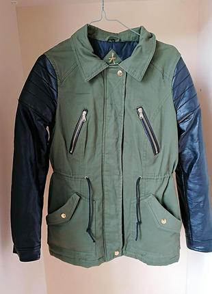 Демисезонная парка куртка atmosphere хаки рукава под кожу (к062)