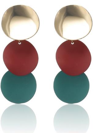 Серьги серёжки комбинированные золото с матовыми деталями бордо зелёный