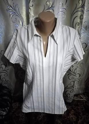 Классическая блуза в полоску на пышные формы marks & spencer