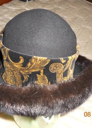 Фетровая шляпа с норковыми полями
