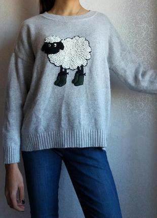 Теплый ангоровый свитер с барашком