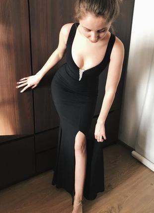 Вечернее платье в пол. чёрное выпускное платье