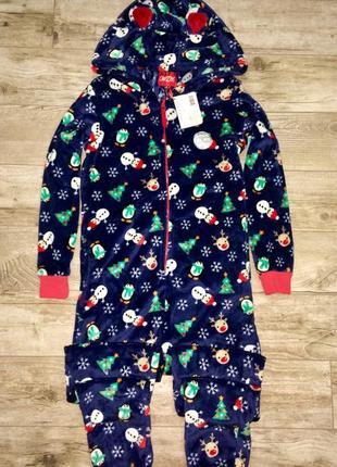 Тёплая махровая пижама, слип, кигуруми новогодняя с ушками