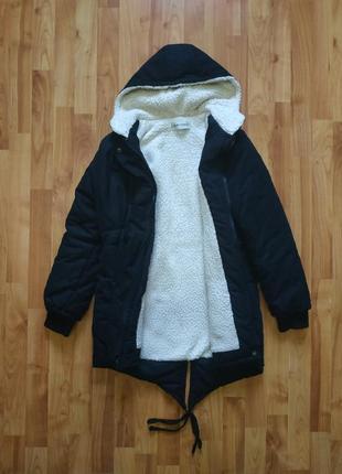 Куртка дуже тепла зимова чорна груба парка пальто зимняя теплая длинная хвост ушки