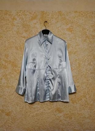 Голубая атласная блуза oltre