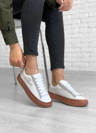 Шикарные женские кроссовки puma x han kjobenhavn white белые 😃 (весна лето осень)