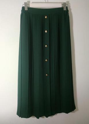 Шикарнейшая юбка в пол макси плиссе франция изумрудная тренд