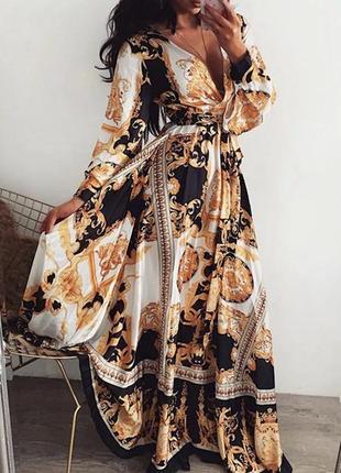 Роскошное платье в пол черно золотое