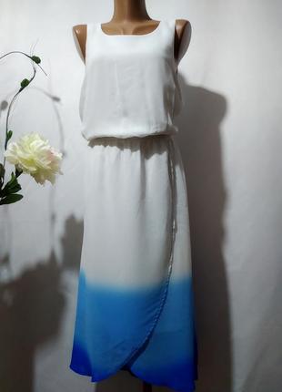 Летнее платье на запах градиентной расцветки
