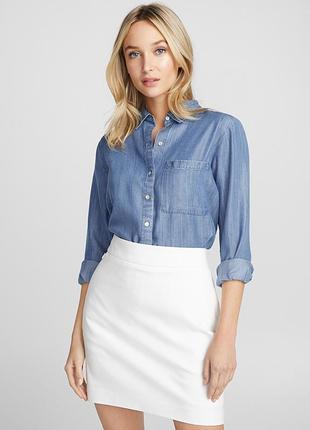 Рубашка деним удлиненная свободного кроя качество люкс