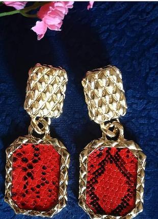Серьги в стиле zara красные змеиный принт сережки