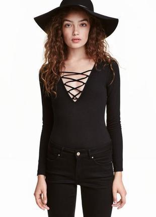 Джемпер топ блуза лонгслив со шнуровкой в рубчик primark качество новый