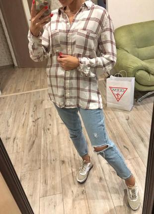 Стильная клетчатая рубашка от limited edition , блуза в клетку