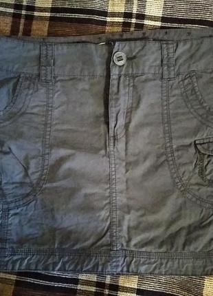 Летняя хлопковая мини юбка хлопок пот-46,5 см