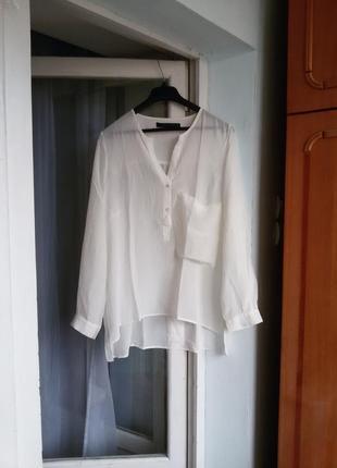 Трендовая шелковая блуза / рубашка zara100% шелк