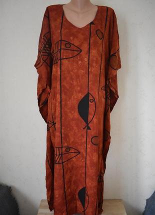 Новое натуральное платье с принтом