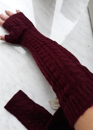 Бордовые митенки рукава длинные перчатки