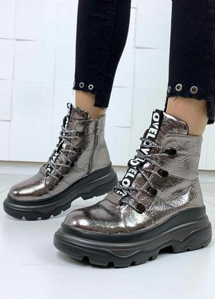 Стильные серебристые ботинки на платформе,тёплые ботинки на меху.