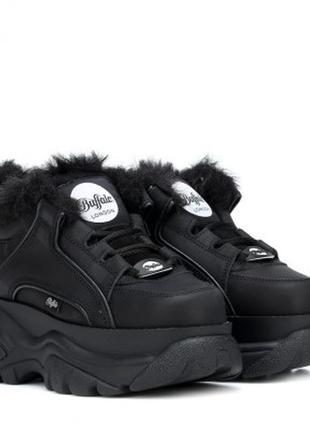 Шикарные женские кроссовки buffalo london black чёрные с мехом зимние 😃 (зима)