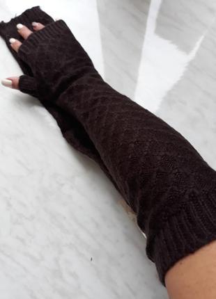 Коричневые митенки перчатки рукава  длинные