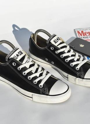 Converse all star кеды унисекс черно белые кожаные на осень новые размер 40