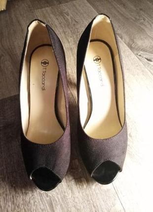 Черные туфли под замш, с лакированной вставкой, туфли на высоком каблуке с открытым носком