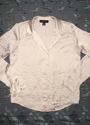 Блузка рубашка пудрового, нежно-розового цвета на пуговицах
