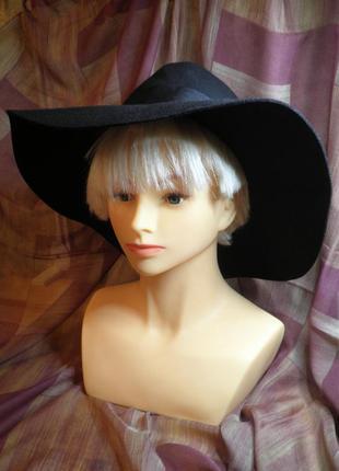 Элегантная мягкая шляпа федора с широкими полями шерсть h&m широкополая размер м 56см