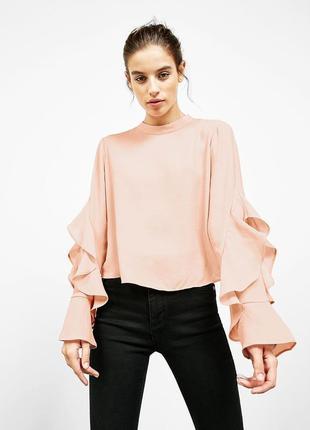 Блуза топ пудра с воланами на рукавах с бантом