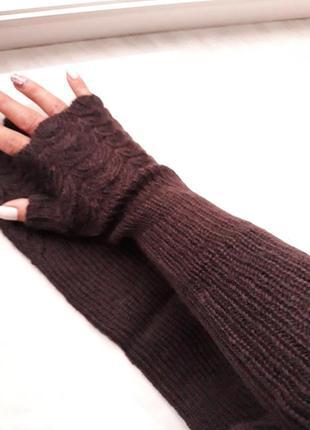 Митенки коричневые длинные перчатки рукава