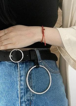 Ремень эко кожа пояс с кольцом качество