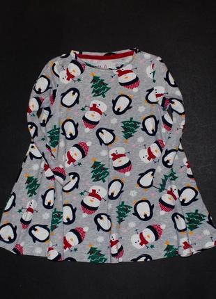 Новогоднее платье со снеговичками и пингвинами