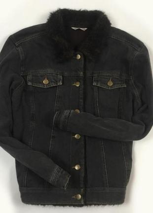 Джинсовая куртка , джинсовая куртка на меху , с мехом , тёплая