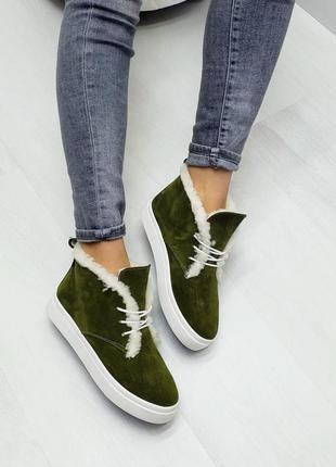 Ботинки натуральная итальянская замша хаки