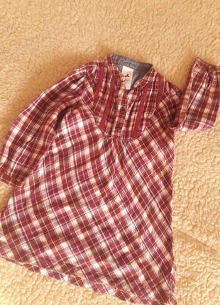Теплое байковое платье туника рубашка