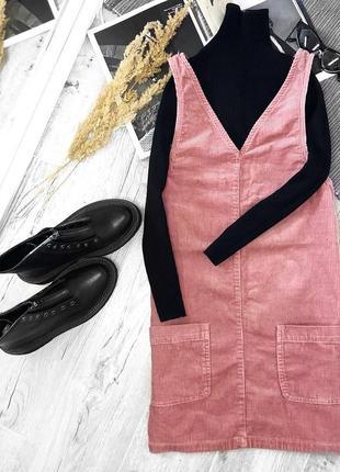 Актуальный трендовый нежно-розовый вельветовый сарафан от new look