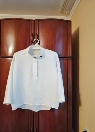 Модная блуза оверсайз zara, 100% лен, размер l