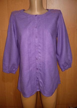 Красивая льняная рубашка лён и вискоза пог-52 см