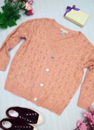 Вязаный персиковый свитер кардиган оверсайз кофта на пуговицах осень зима р. м