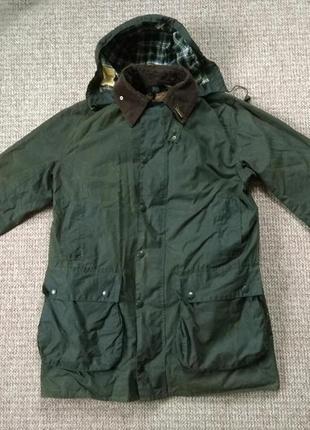 Barbour border wax вощеная куртка + капюшон, подкладка и значок оригинал (c40)