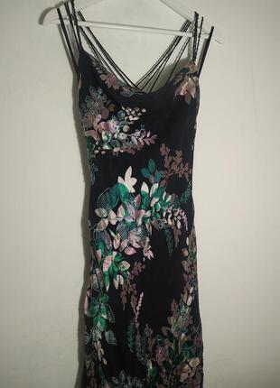Шелк + вискоза шикарнейшее платье в пол рыбка карандаш макси оригинальное