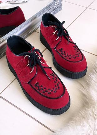 Стильные туфли мокасины из эко замши на массивной подошве