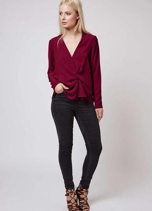 Блуза на запах марсалового цвета/марсалова блуза на запах