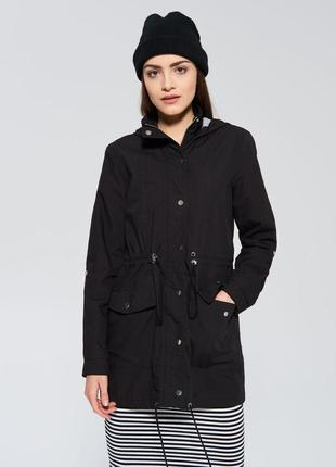 Стильная черная куртка парка