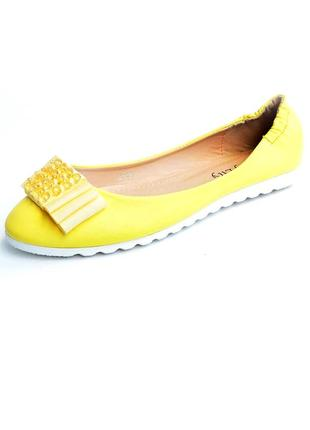 Балетки желтые туфли лодочки 23.5см