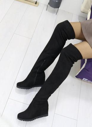 Новые шикарные женские демисезонные черные сапоги ботфорты